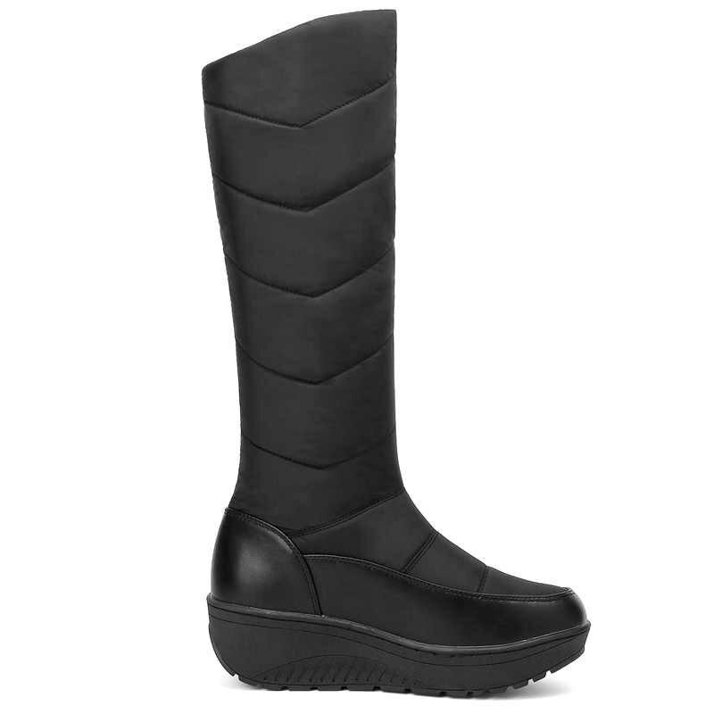 MEMUNIA Artı boyutu 35-44 Sıcak Kar Botları Takozlar Topuk platform ayakkabılar Kalın Kürk Aşağı Kışlık Botlar Bayan Orta Buzağı kadın Botları 2019