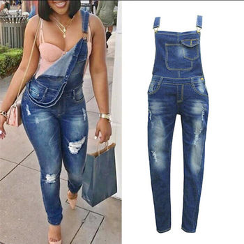 Women Overalls Jeans Strap Hole Plus Size Trousers Pants Jumpsuit Rompers Bleached High Street Overalls Jeans for women plus size women in overalls