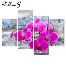 FULLCANG Magnolia Flower 4pcs Diamond Painting Cross Stitch Embroidery Diy 5D Square Mosaic F1059