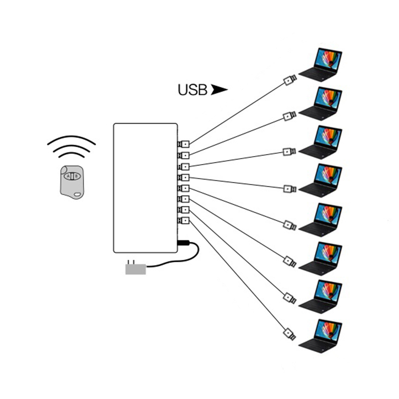 8 port wireless control laptop security system notebook anti-theft device computer burgl ...