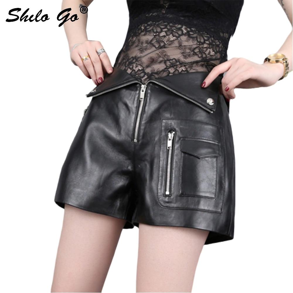 Leather Shorts Summer Spring Fashion Sheepskin Genuine Leather Shorts High Waist Metal Button Front Zipper Locomotive