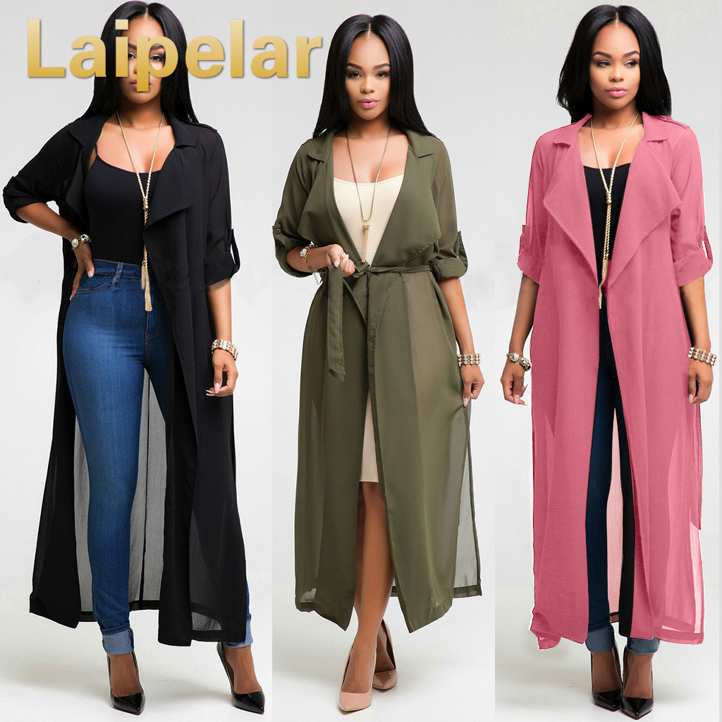 Laipelar Women Long Trench Coats Cardigan Spring Open Stitch Slim Long Coat Windbreaker Chiffon Kimono Top Outwear Streetwear