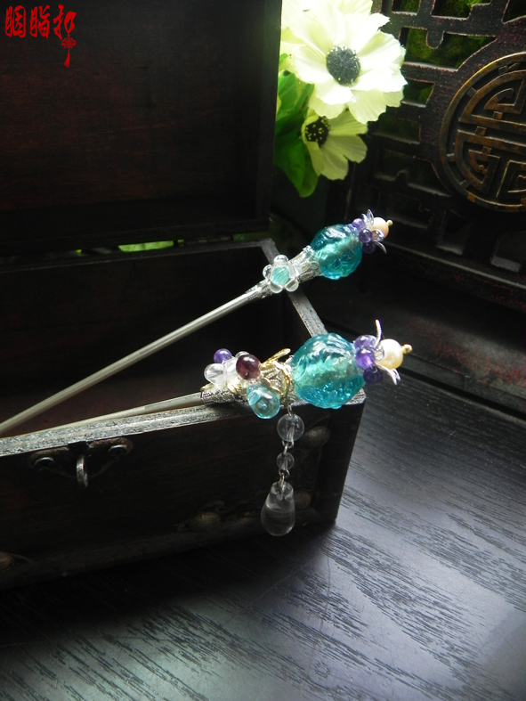 Old colored glaze crystal fruit classical hair stick costume hair accessory original handmade hair stick price is for 1 pair