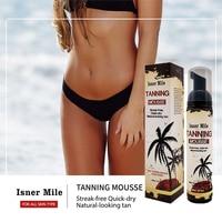 ISNER MILE Self Tanning Body Mousse Sunless Bronzer Natural Solarium Long Lasting Lotion Bronze Salon Fake SunTaning Cream 100ml