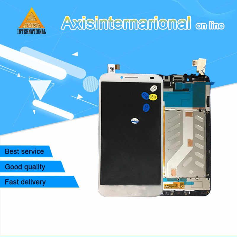 Для Alcatel One Touch Idol 2 6037 OT6037 6037B Axisinternational ЖК-дисплей + сенсорный дигитайзер с рамкой Белый/Черный Бесплатная доставка