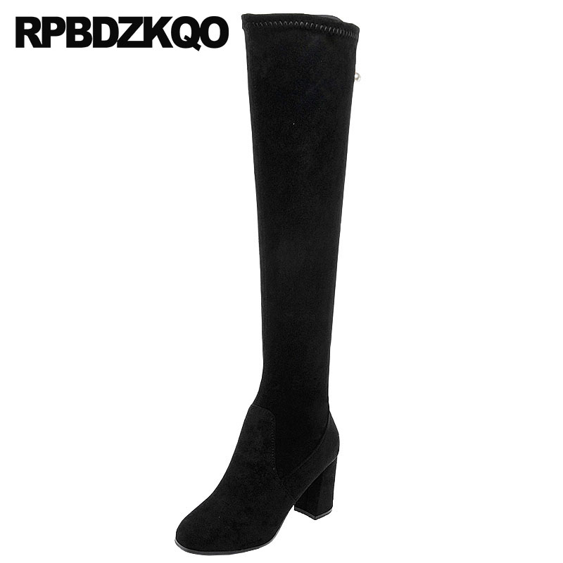 chunky over the knee high heel winter fur fall autumn slim ladies faux suede thigh women boots black shoes 2018 long slip on big size slip on navy blue high heel hidden fashion wedge fur long winter over the knee suede slim thigh women boots shoes 10