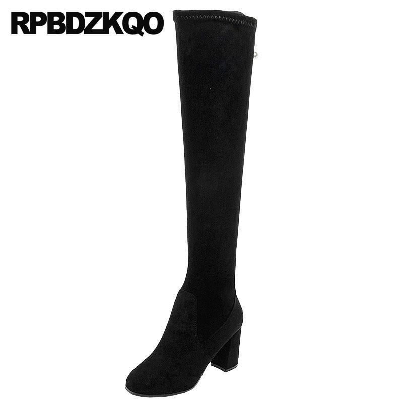 купить chunky over the knee high heel winter fur fall autumn slim ladies faux suede thigh women boots black shoes 2018 long slip on по цене 4056.77 рублей