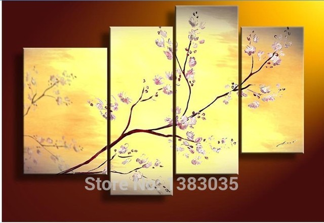 Hand Painted Modern Oil Painting Flower Cherry Blossom Wall Decor ...