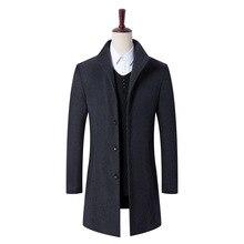Новая мода осень зима для мужчин's бизнес шерстяное пальто одежда высшего качества парка мужчин утолщаются куртка, жакет, верхняя одежда мужской шерст