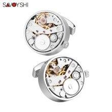SAVOYSHI นาฬิกา Cufflinks สำหรับบุรุษบุรุษ Cuff Functional กลไกนาฬิกา Cuff Links Designer ยี่ห้อเครื่องประดับ