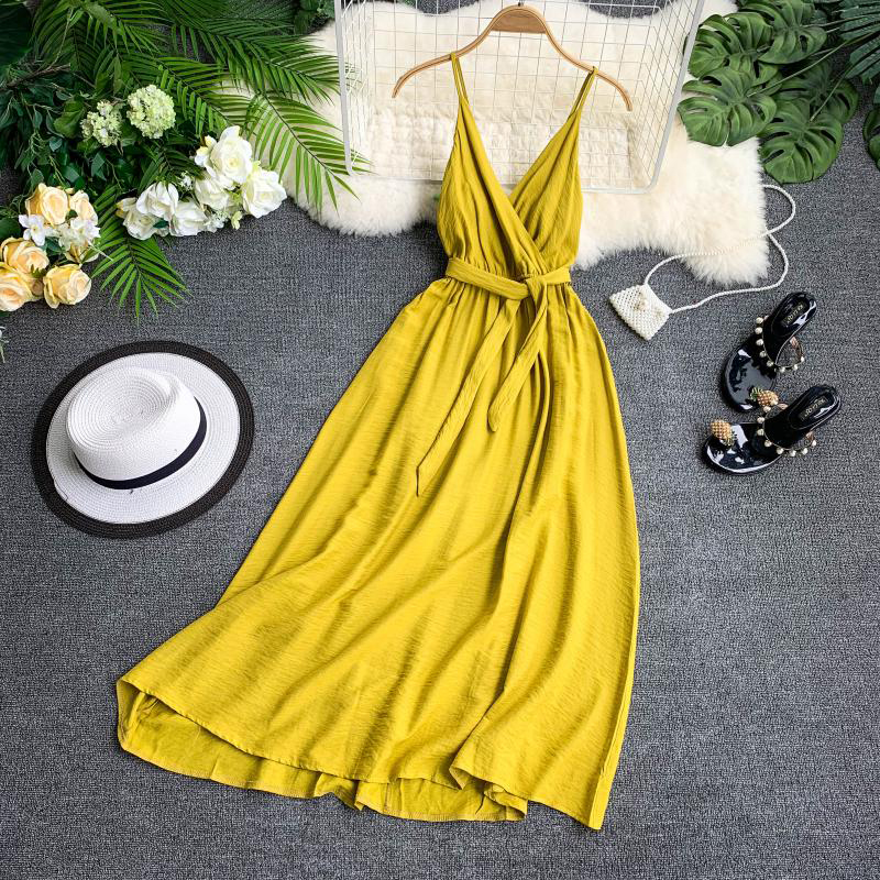FTLZZ Sexy Backless Straps V-neck Dress Maldives Holiday Dress Women Solid Color Thai Seaside Maxi Long Big Swing Fairy Dress