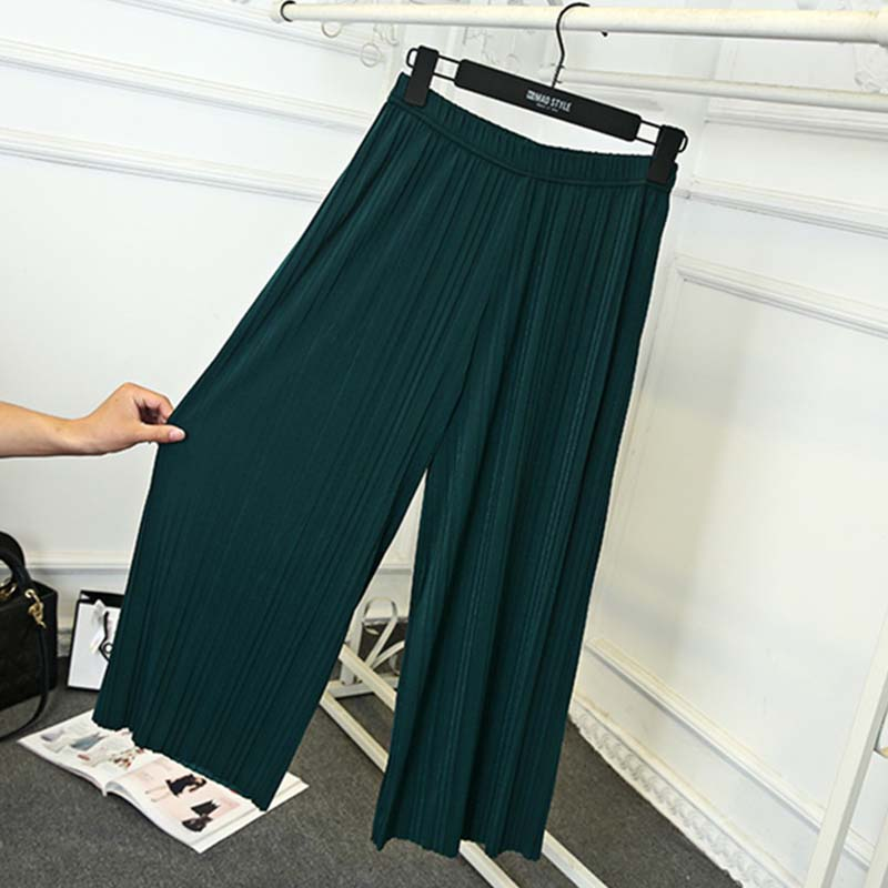 WHZHM Summer Green Wide Leg Pants Ladies Loose Black Big Size Pink Elastic Waist Thin