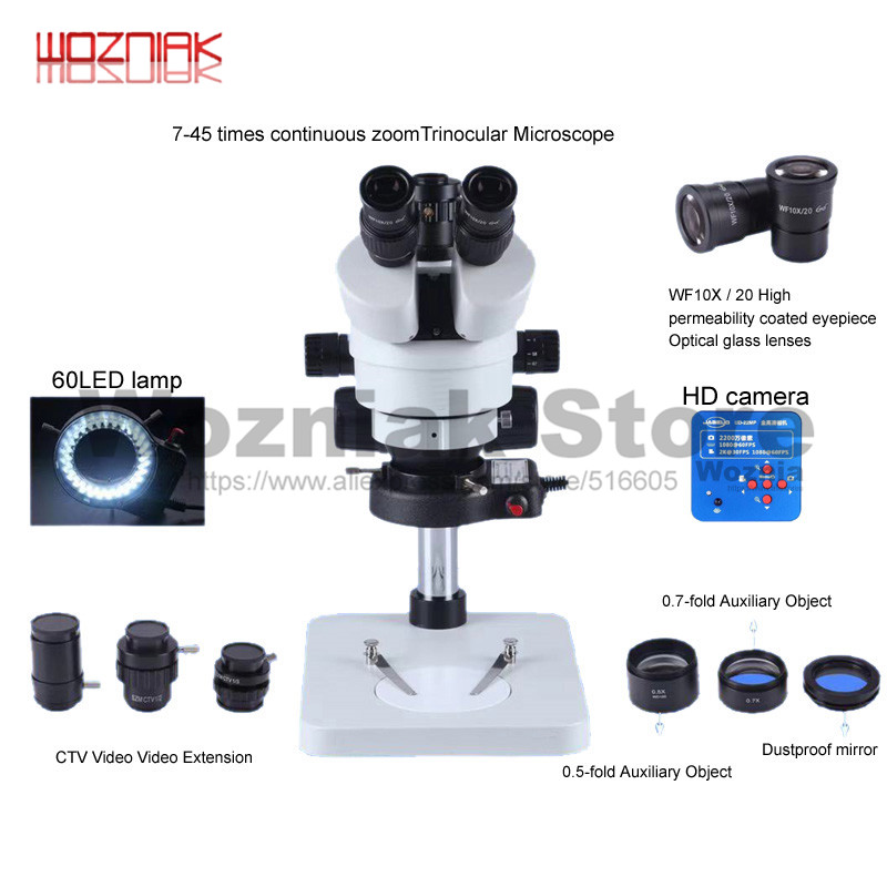 High Definition Trinocular Microscope 7-45 Times Continuous Zoom Optional Aluminium Alloy Pad For Mobile Phone BGA Maintenance