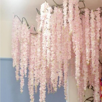 120CM long Simulation Flower Vine String Upscale Hydrangea Wisteria Garland for Home Ornament Wedding Decoations free shipping