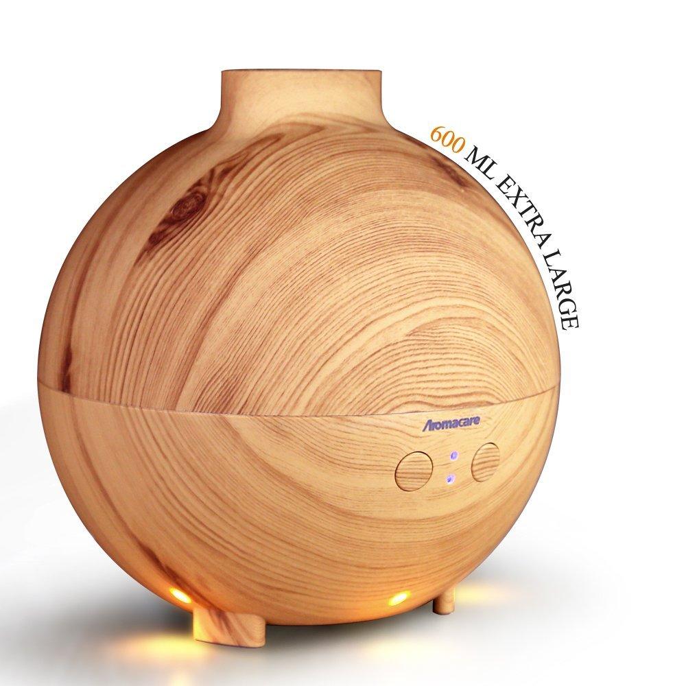 Aromacare 600ml ארומה Essential שמן מפזר Ultrasonic אוויר אדים עם עץ גרגרים LED אורות עבור Office Home