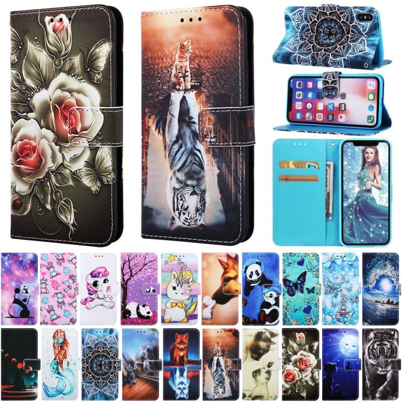 Luxury Vintage Phone <font><b>Case</b></font> For Huawei <font><b>Mate</b></font> 20 <font><b>Lite</b></font> Play 8A Y6 2019 P7 Leather Wallet Artistic Pattern <font><b>Flip</b></font> Cover Coque D03Z image