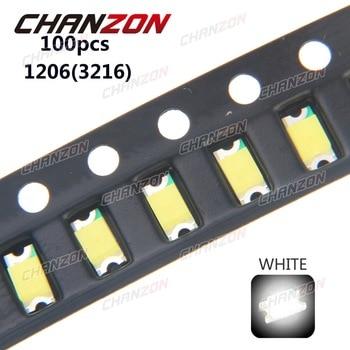100pcs SMD 1206 (3216) White Ultra Bright 20mA 3V LED Chip Light Emitting Diode Lamp Surface Mount SMT Bead Technology fpr PCB