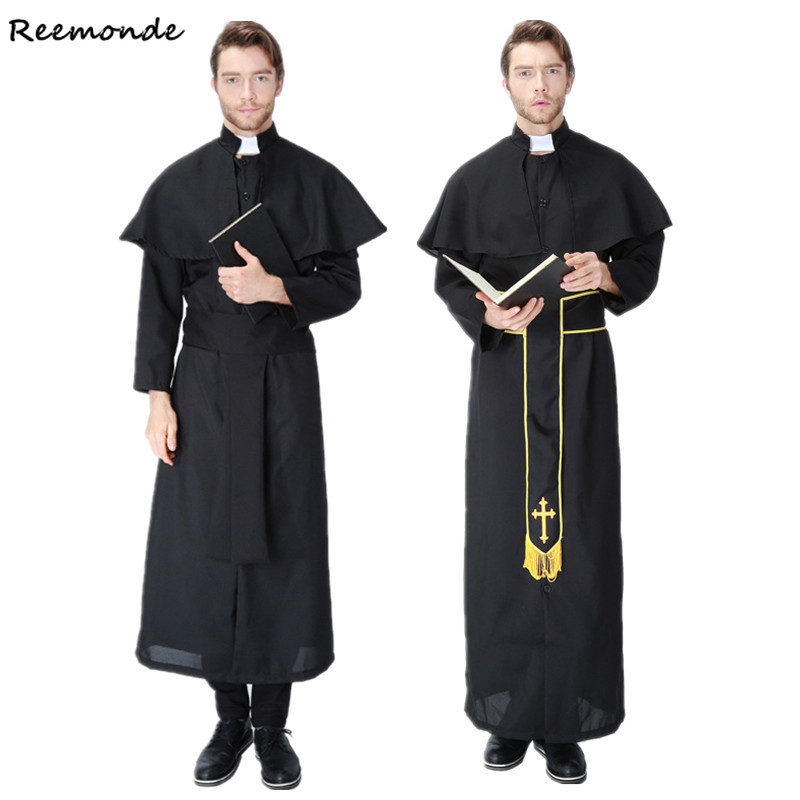 Adult Pastor Priest Monk Robes Cosplay Costumes The Nun Suit Godfather Missionary Priest Serving For Men Boys Halloween Clothing