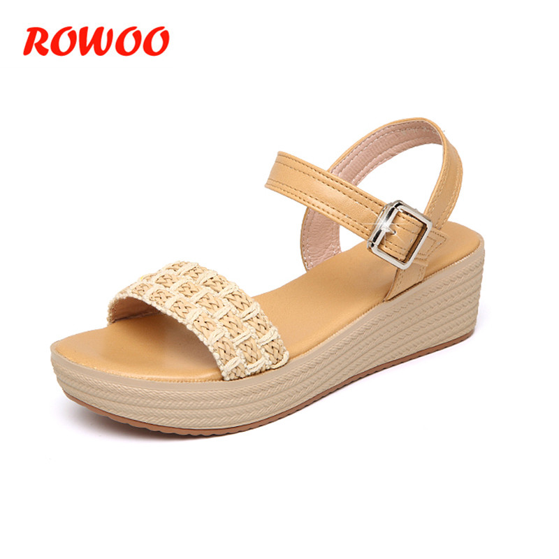 2018 Women Sandals High Heel Ladies Beige Wedge Sandals Open Toe Platform Sandalias Ladies Sandals Leather Women 'Summer Shoes