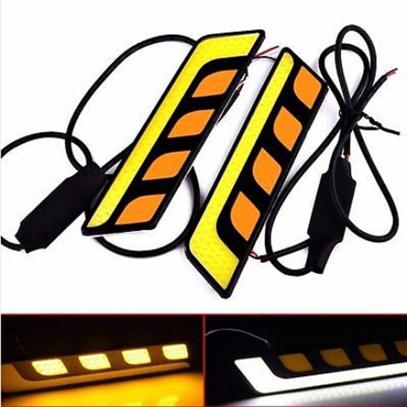 1 Пари автомобиля дневной свет 12V Универсальный DRL водить автомобиль противотуманные фары янтаря сигнал поворота свет