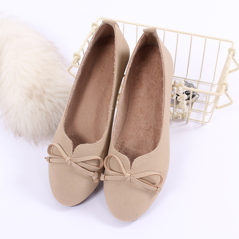 Suede Leather Women Flat Shoes Sweet Bow Ladies Casual Flats Spring Autumn Comfortable Soft Lazy Loafers Slip On Leisure Shoes fashion spring summer slip on loafers women flat bow pointed toe boat shoes lazy shoes comfortable ballet flats 2018 new arrival