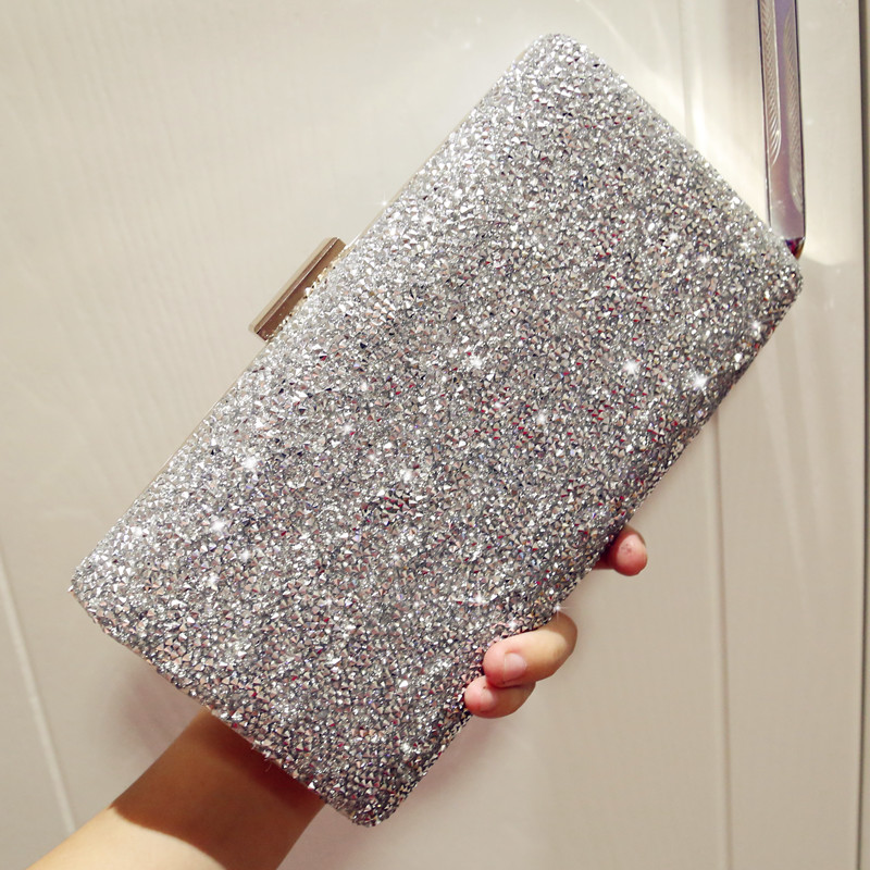 1a682cca52768 ETAILL Silver Luxury Brand Crystal Diamond Clutch Bags 2017 Women Evening  Bags Designer Sparkly Party Clutch With Long Chain-in Clutches from Luggage  & Bags ...