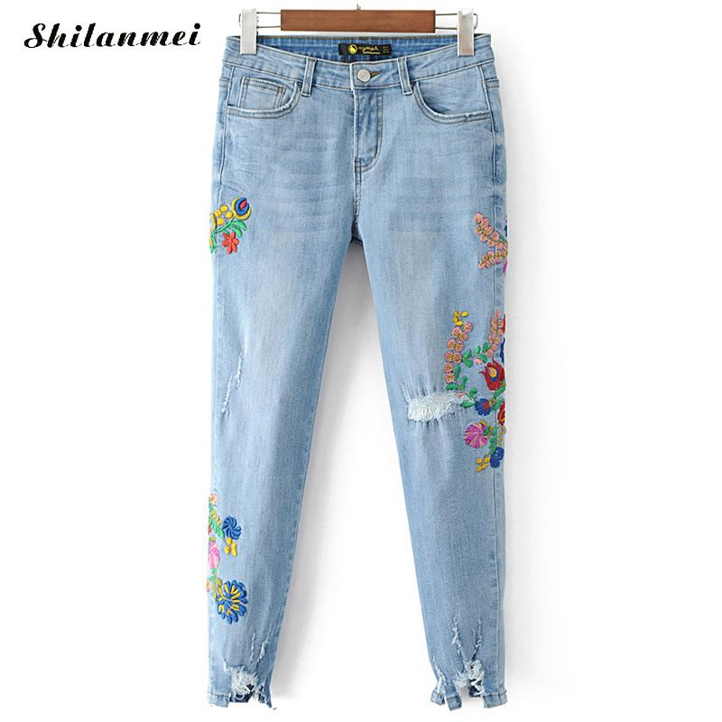 Womens Embroidered Jeans Femme Vintage Blue Broderie Hole Long Retro Scratch Worn Feet Straight Pants Floral Jeans Women xs 2017 цены онлайн