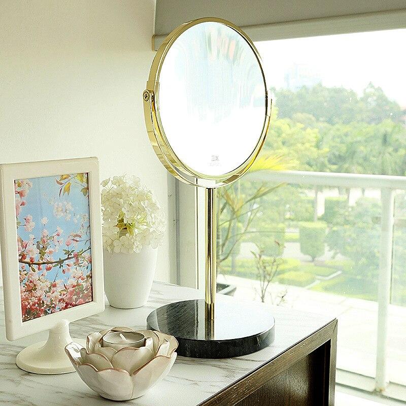 A1 miroir de maquillage doré bureau bureau rond marbre princesse miroir fille coeur double face HD miroir de maquillage miroir lo827612