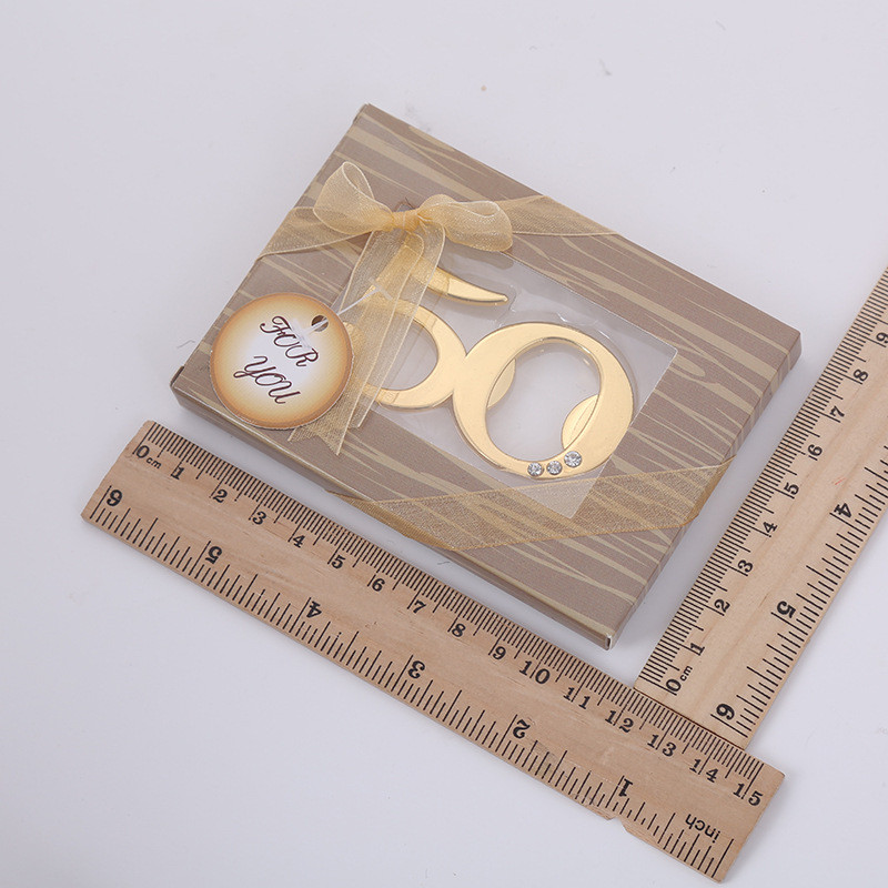100 pcs lot 50 Anniversary Gold Beer Bottle Opener Metal Openers For Wedding Souvenirs for guests