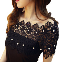Hot Sale Summer Female T Shirts Fashion Elegant Beading Pearl Slash Neck Tops Off Shoulder Slim