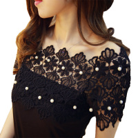 Hot Sale Summer Female T Shirts Fashion Elegant Beading Pearl Slash Neck Tops Off Shoulder Slim