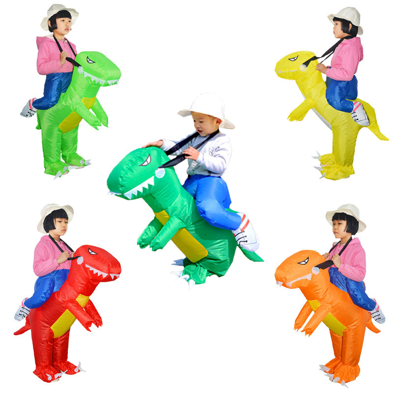 5 Color Dinosaur Inflatable Cosplay Costumes For Children T-rex Anime Game Suits Halloween Christmas Party Toy Inflated Garment