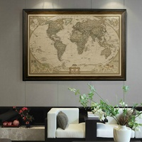New Executive World Push Pin Travel Map with Black Frame and Pins Paintings Home Living Room Decoration