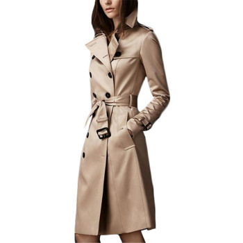 Trench Coat Women 2019 New Autumn Khaki Black And Wine Red S-2XL Plus Size Double-breasted Long Slim Windbreaker Feminina LD632 brand children s clothing in the big girl wool coat autumn and winter children s long section of the red double breasted trench