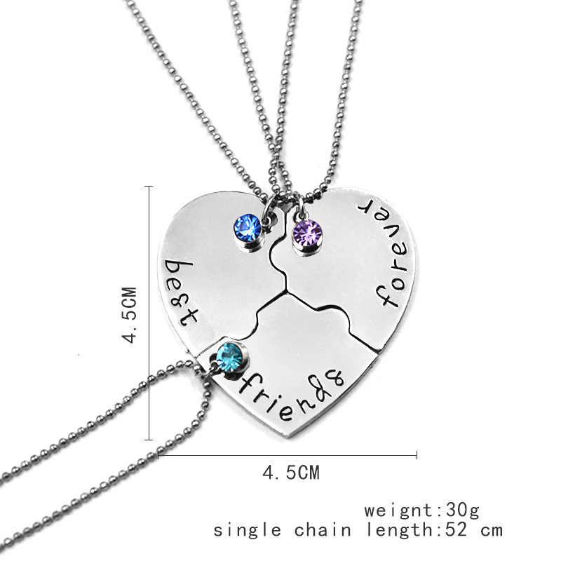 3 sztuk/zestaw złamane serce wisiorek naszyjnik najlepsi przyjaciele na zawsze naszyjniki kobiety mężczyźni moda kryształ miłość BFF przyjaźń biżuteria prezent