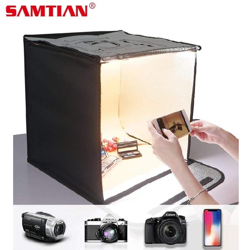SAMTIAN F40 Portable LED Light Box 40*40cm Softbox Photo Studio Lightbox For Camera Phone Photography puluz 40 40cm 16light photo studio box mini photo studio photograghy softbox led photo lighting studio shooting tent box kit