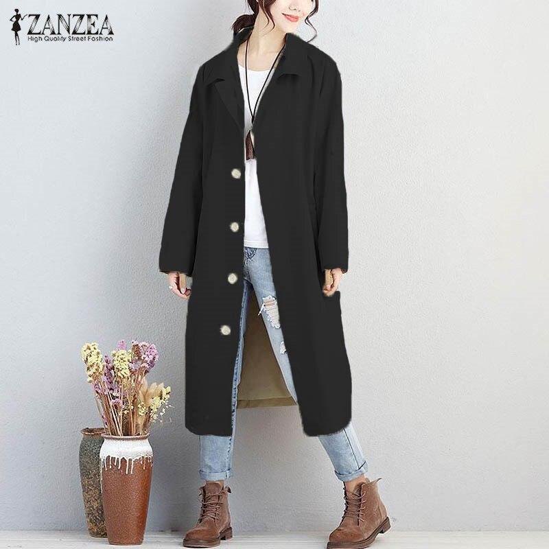 M-5XL ZANZEA Women Black Buttons Down Lapel Neck Long Sleeve Long Coat Winter Khaki Office Ladies Loose Windbreak Solid Jacket