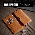 Para iphone 6 plus/6 s mais caso, estojo de couro genuíno para o iphone 6 carteira mais negócio artesanal de luxo para apple iphone 6/6 s
