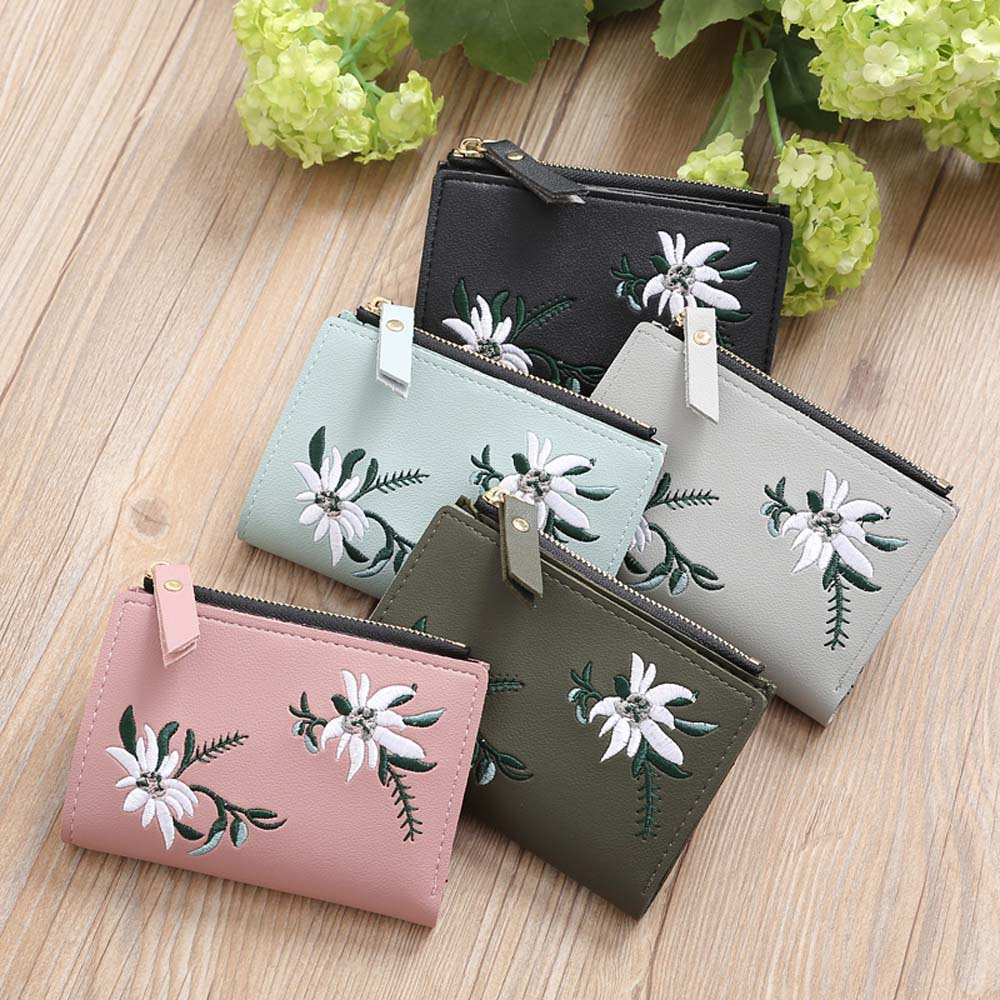 Summer New Brand Embroidery Purses Small Fresh Casual Pu Coin Wallet Lady Embroidery Pattern Dollar Money Bag Short Handbag