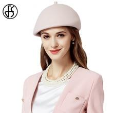цена на FS Brand Felt Hats Women French Beret Hat  Winter Wool Fedora Elegant Female Fascinator Artist Painter Cloche Boinas Femininas