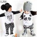 Recém-nascidos Meninos Roupas de Bebê 2017 Nova Primavera Crianças de Algodão T-shirt + Pants Outfit Meninas Esporte Suit Vestuário Infantil conjunto de Roupas Infantis