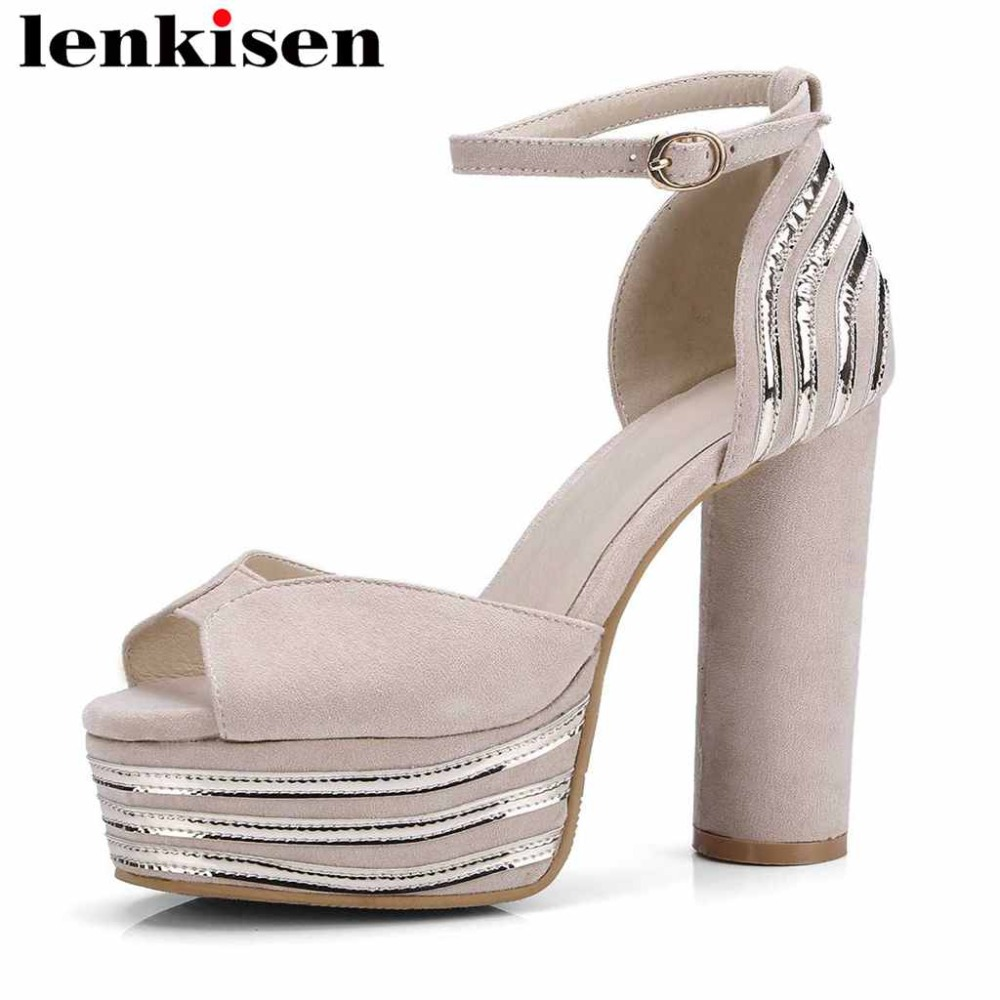 Lenkisen big size PU peep toe classic basic waterproof cozy shoes women buckle strap super high round heels women sandals L7f1
