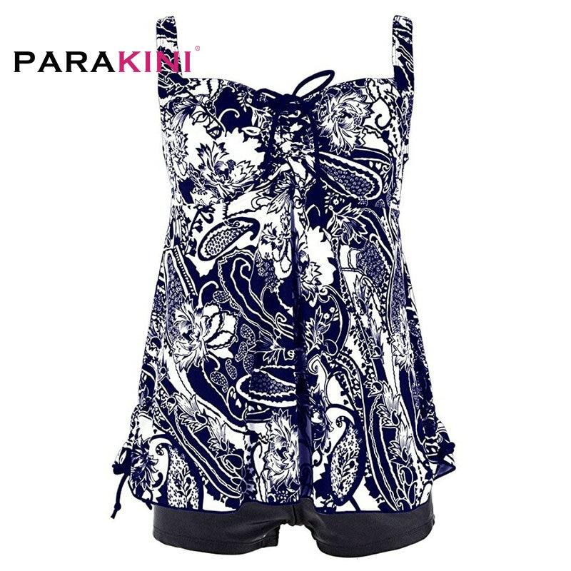 01.PARAKINI Floral Print 2 Pieces Bikinis Set 2018 New Vest Sports Boxer Brief Pants Tankini Swimsuit Plus Bigger Size 5XL Swimwear