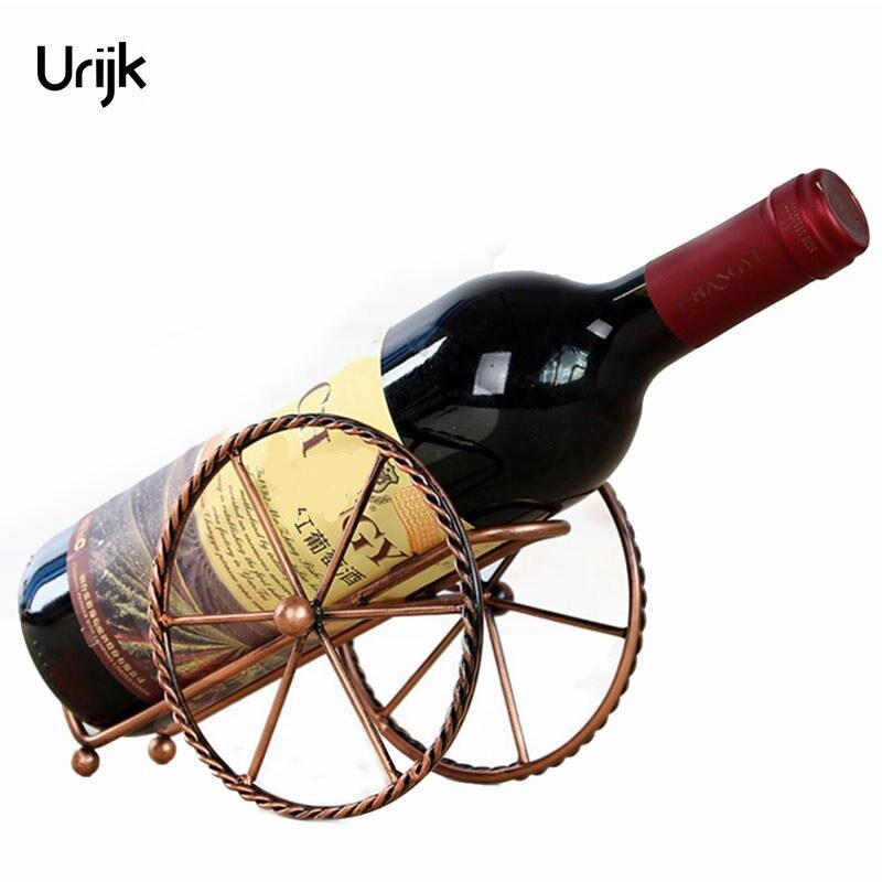 Urijk Metal Red Wine Rack Bronze Iron Wheels Design Wine Holder Home Bar Decor Shelf Display Beer Whisky Wine Bottles Holders