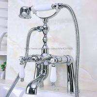 Polished Chrome Dual Handles Bathtub Faucet Deck Mounted Swive Spout with Handshower Tub Mixer Tap Bna110