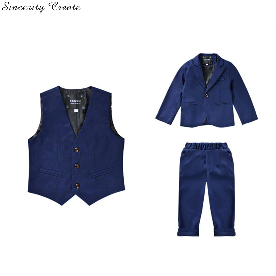 New 3 Pcs Boys Wedding Suit England Style formal Boys Suit set Tuxedos Solid Kids Spring Clothing Set children suits KS-1617