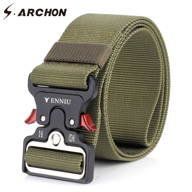 S.ARCHON Heavy Duty Quick Release Military Belt Men Survival SWAT Combat Tactical Belts Male Amry Soldier Safety Nylon Belts 5CM