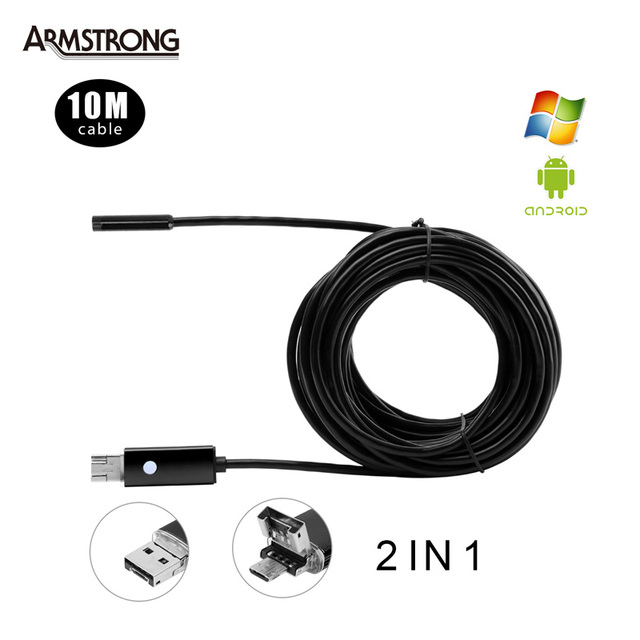 3 Colors 5.5mm Lens 10M USB Endoscope Android OTG Phone Endoscopio 2in1 Mini Endoscope Camera Waterproof Inspection Camera