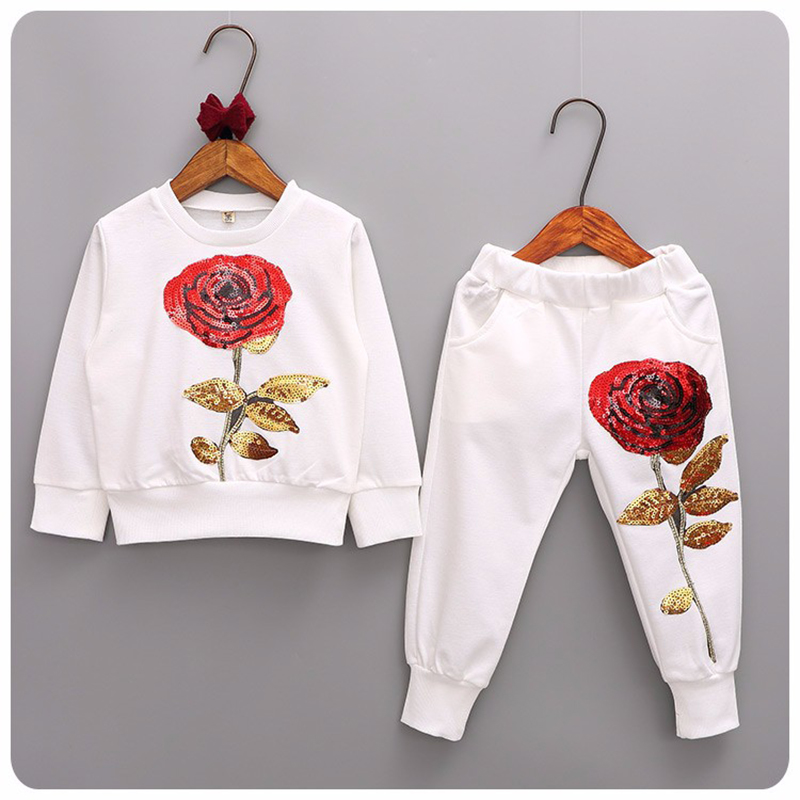 Children Cotton Sport Clothing Sequin Rose Flower Girl Casual Tracksuit Kids Autumn Sweatshirt+Pants Leisure Clothes Sets Suit free shipping children s clothing spring autumn girl leisure flower pattern girl suit long sleeve sweatshirt pants set