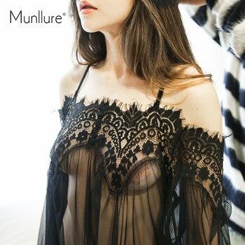 Munllure 2019 New Bohemian Lace Strapless Sexy Women's Pajamas Women Eyelashes Straps Lingerie Set Sleepwear Through Blouse 4